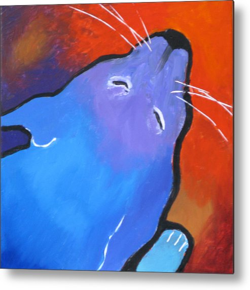 Cat Metal Print featuring the painting Sleep by Robert Bissett