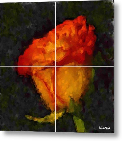 Flower In Poster 1 Metal Print featuring the digital art 1.desire Artwork In Poster by Andrea N Hernandez