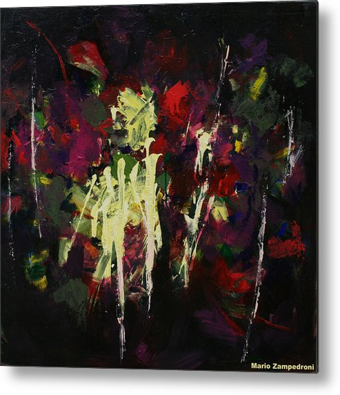 Abstract Flowers Metal Print featuring the painting Flowers by Mario Zampedroni