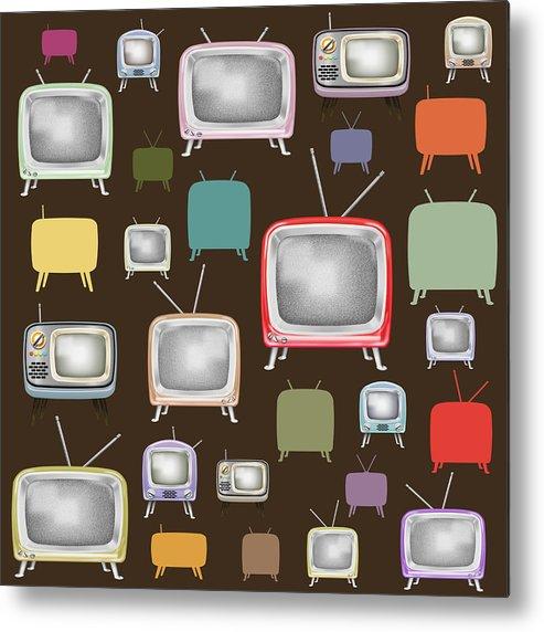 Analog Metal Print featuring the painting retro TV pattern by Setsiri Silapasuwanchai