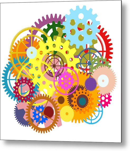 Art Metal Print featuring the painting Gears Wheels Design by Setsiri Silapasuwanchai
