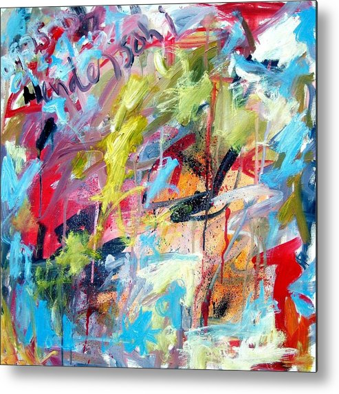 Abstract Metal Print featuring the painting Abstract With Drips And Splashes by Michael Henderson