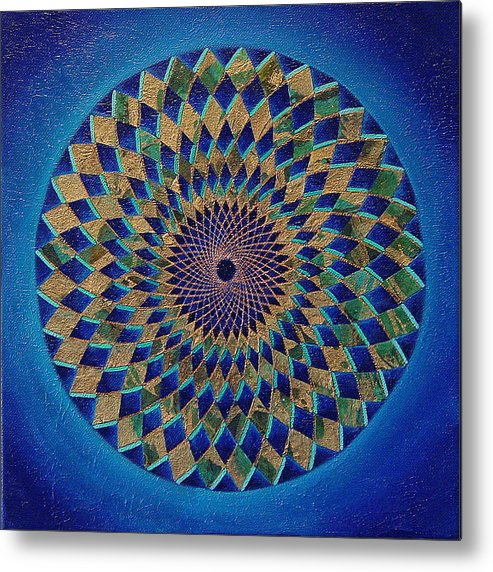 Mandala Metal Print featuring the painting Blue Green Planet by Charlotte Backman