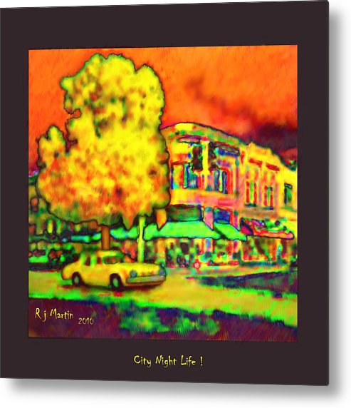 Landscape Metal Print featuring the painting City Night Life by Roberta Martin