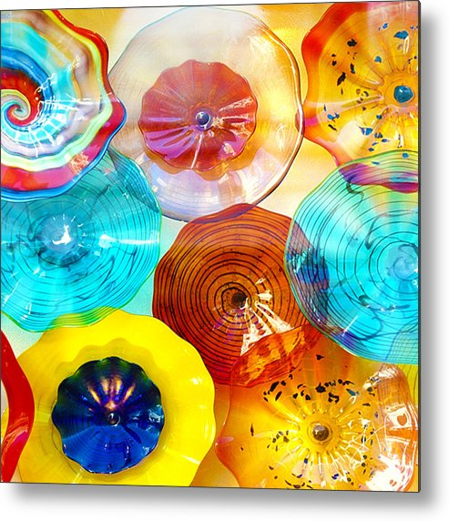 Glass Metal Print featuring the photograph Colorful Plates by Artist and Photographer Laura Wrede