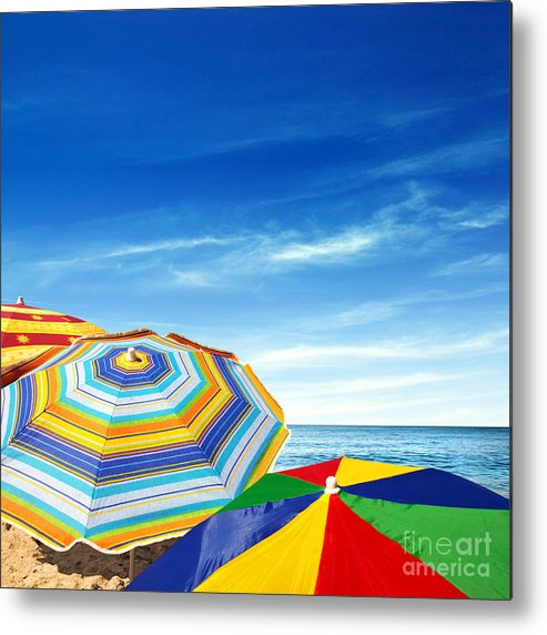 Abstract Metal Print featuring the photograph Colorful Sunshades by Carlos Caetano