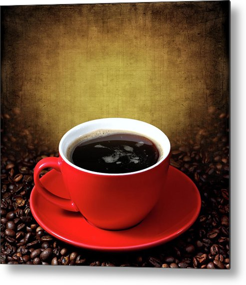 Coffee Metal Print featuring the photograph Cup Of Coffee On Grunge Textured Background by Pics For Merch
