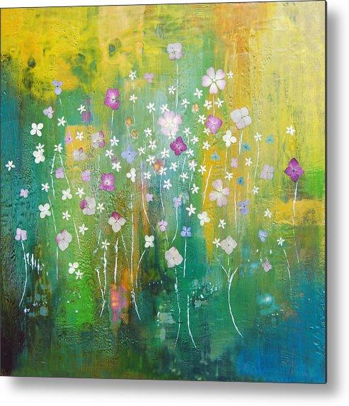 Abstract Metal Print featuring the painting Dancing Wildflowers Series by Joya Paul