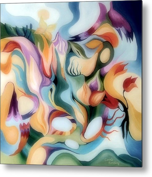 Landscape Metal Print featuring the painting Dreamy Fairyland by Carola Ann-Margret Forsberg
