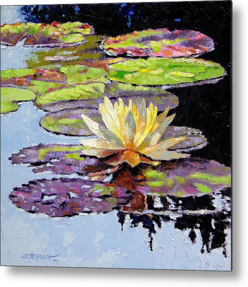 Golden Water Lily Metal Print featuring the painting Floating Gold by John Lautermilch