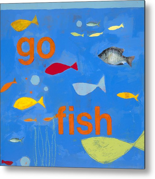 Fish Painting Metal Print featuring the painting Go Fish by Laurie Breen