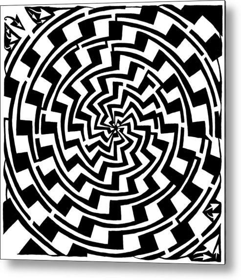 Gradient Metal Print featuring the drawing Gradient Tunnel Spin Maze by Yonatan Frimer Maze Artist