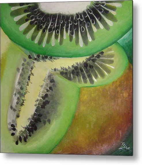 Abstract Metal Print featuring the painting Green Ecstasy 1 by Lian Zhen