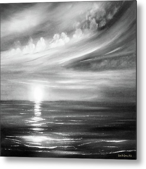 Sunset Metal Print featuring the painting Here It Goes - Square Sunset In Black And White by Gina De Gorna