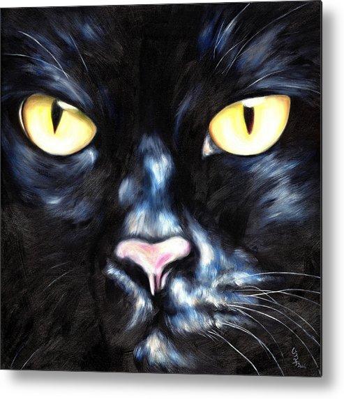 Black Cat Metal Print featuring the painting I Am Night by Hiroko Sakai
