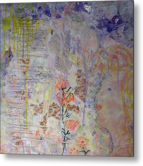 Abstract Metal Print featuring the painting In The Now by Heather Hennick