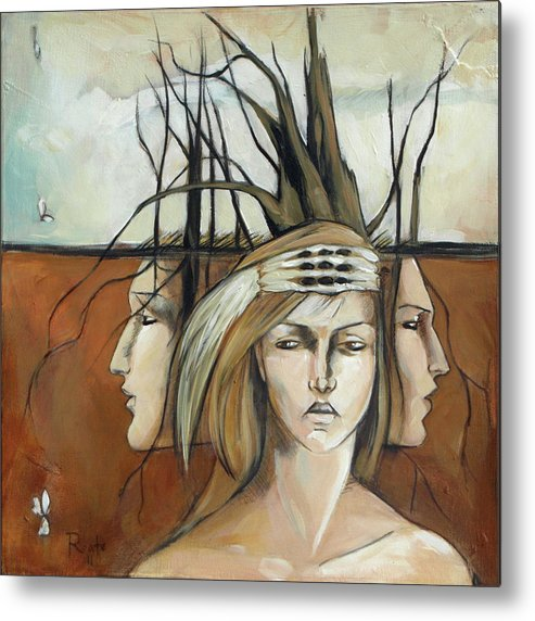 Landscape Metal Print featuring the painting Landscaped Headdress by Jacque Hudson