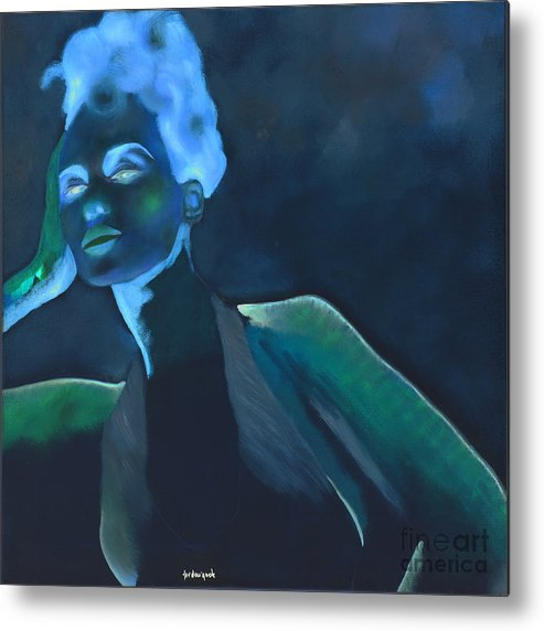 Metal Print featuring the painting Laser by Krzis-Lorent Frederique