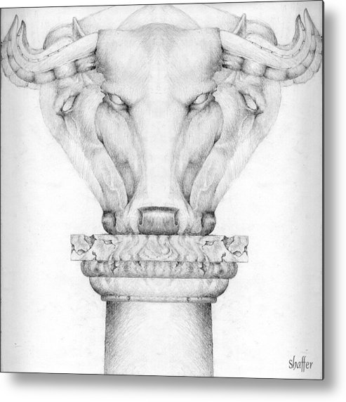 Bull Metal Print featuring the drawing Mesopotamian Capital by Curtiss Shaffer