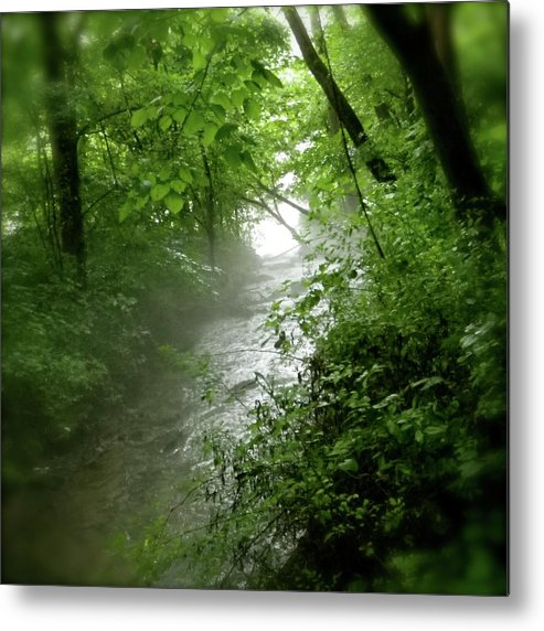 Water Metal Print featuring the pyrography Misty Stream by Tina Valvano