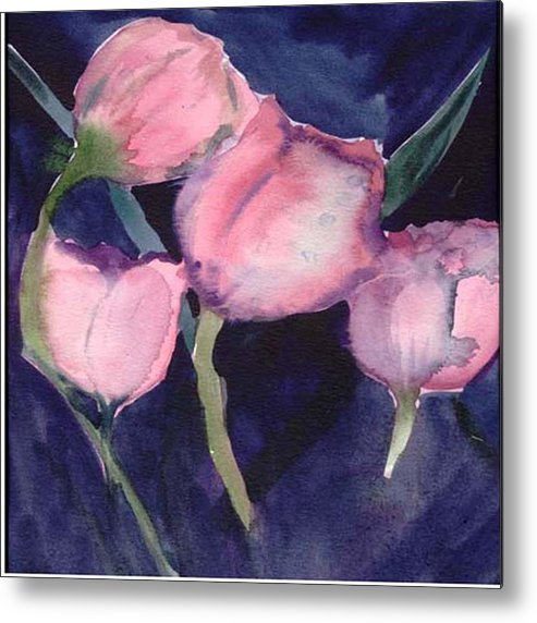 Tulips Metal Print featuring the painting Night Tulips by Janet Doggett