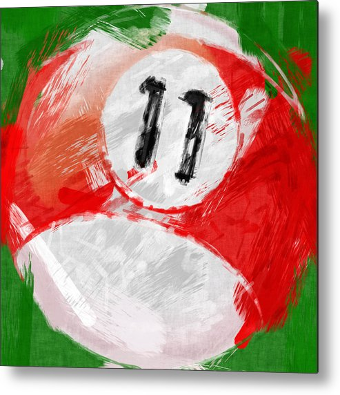 Eleven Metal Print featuring the photograph Number Eleven Billiards Ball Abstract by David G Paul