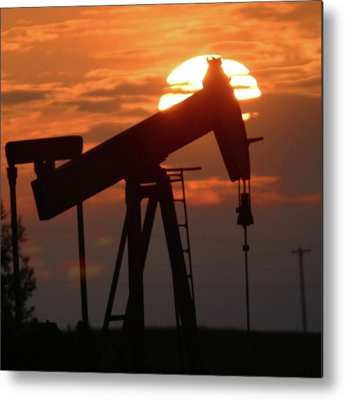 Oil Metal Print featuring the photograph Oil Pump Jack 7 by Jack Dagley