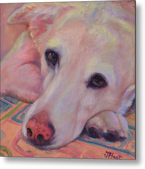 Yellow Lab Metal Print featuring the painting Ol' Yellow Lab by Julie Hart