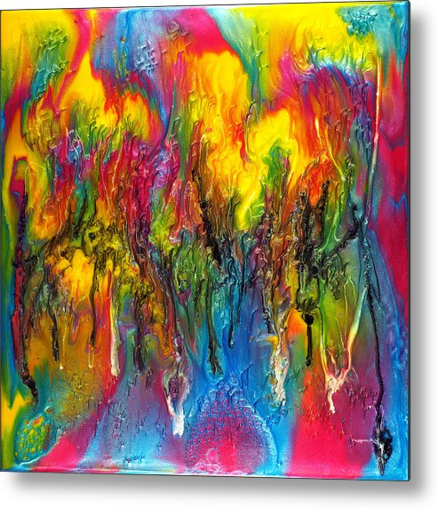 Abstract Metal Print featuring the painting Party Time by Paul Tokarski