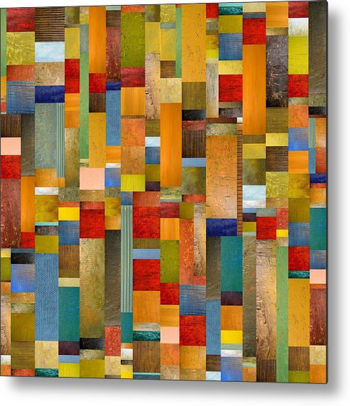 Multicolored Metal Print featuring the painting Pieces Parts by Michelle Calkins