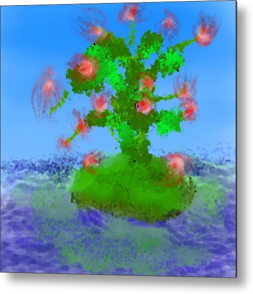 Landscape.sea.birds.island.sky.tree .rest Stop.wave.wind. Metal Print featuring the digital art Pink Birds Ongreen Island by Dr Loifer Vladimir