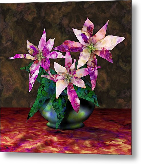 Floral Metal Print featuring the digital art Poinsettia Still Life by Gae Helton