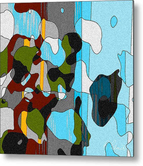 Abstract Metal Print featuring the mixed media Puddlesponge by Ruth Palmer