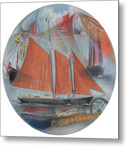 Roseway Metal Print featuring the painting Schooner Roseway by Leigh Banks