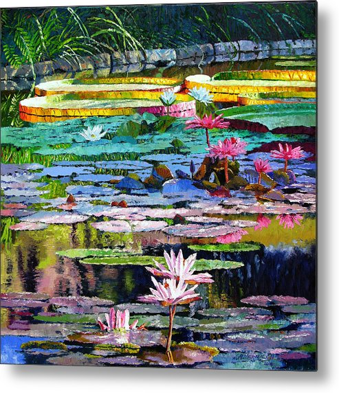 Water Lilies Metal Print featuring the painting Shadows And Sunlight by John Lautermilch