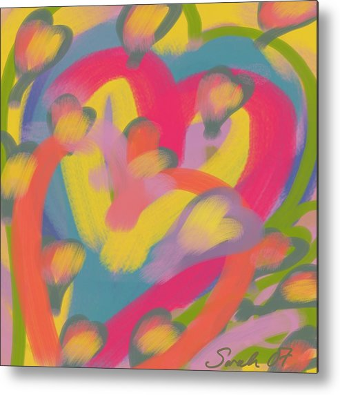 Hearts Metal Print featuring the painting So Much Love by Sarah Madsen