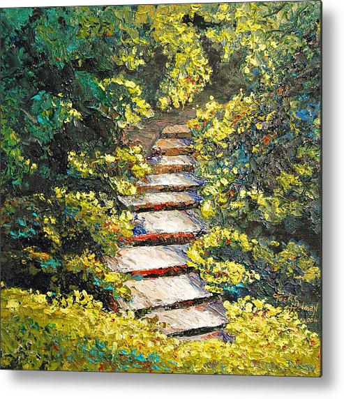 Landscape Metal Print featuring the painting Stairway To Heaven by Cathy Fuchs-Holman