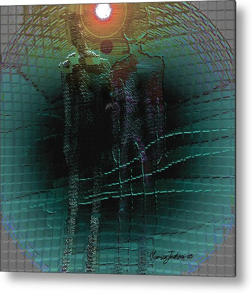 People Alien Arrival Visitors Metal Print featuring the digital art The Arrival by Veronica Jackson