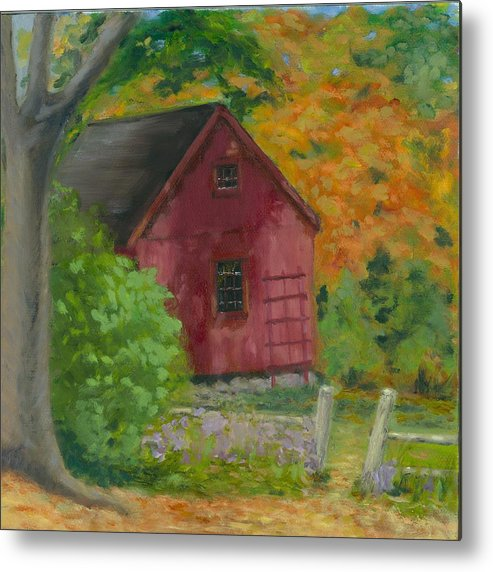 Landscape Metal Print featuring the painting The Last Days Of Autumn by Paula Emery