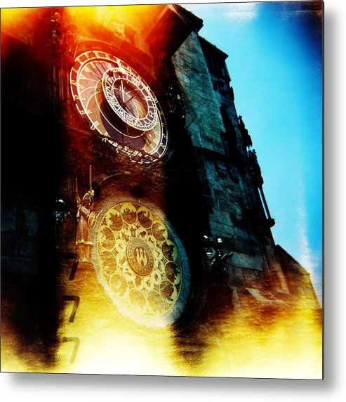 Clock Time Holga Color Photograph Praha Metal Print featuring the photograph Time Is Burning by Olivier De Rycke