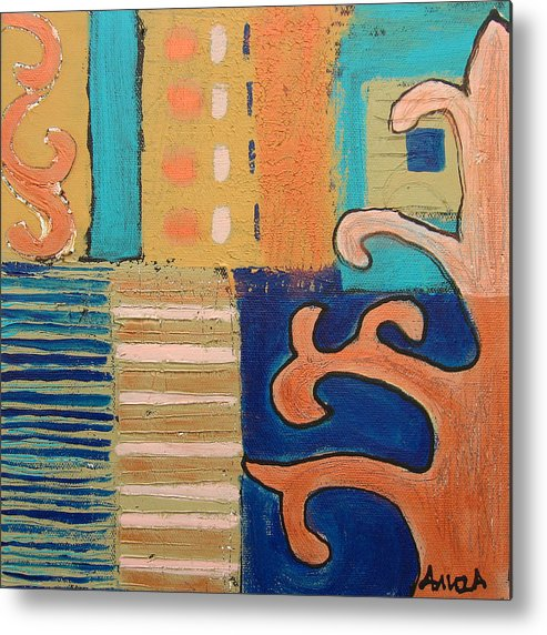 Tree Metal Print featuring the painting Tree And A House 1 by Aliza Souleyeva-Alexander