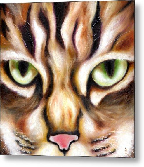 Cat Metal Print featuring the painting Trick Or Treat by Hiroko Sakai