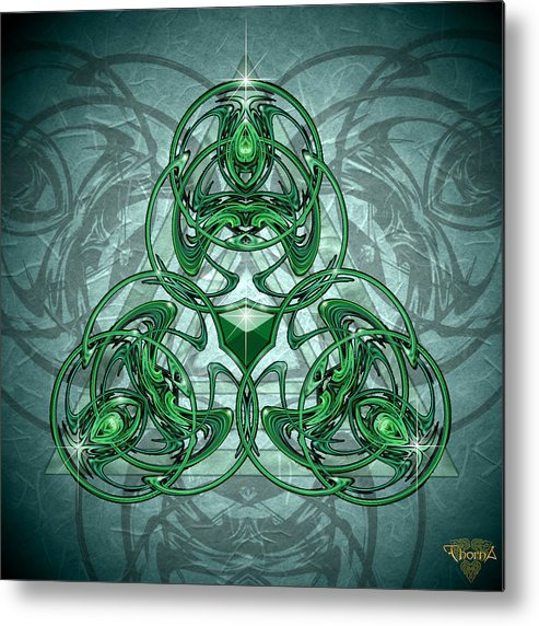 Digital Art Metal Print featuring the digital art Triskellion by Greg Piszko