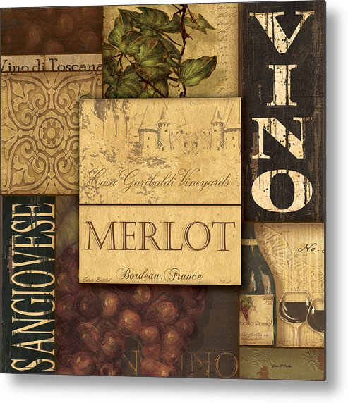 Wine Metal Print featuring the painting Vino Collage by Grace Pullen