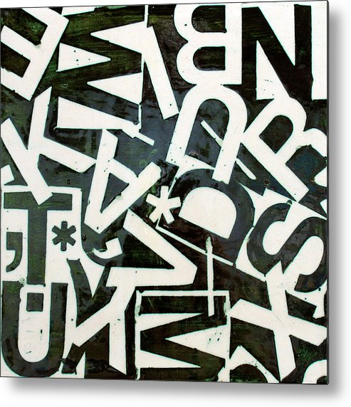 Letters Metal Print featuring the relief Wake My Burn Dust Xiv by Jason Messinger