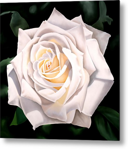 Flower Metal Print featuring the painting White Rose by Ora Sorensen