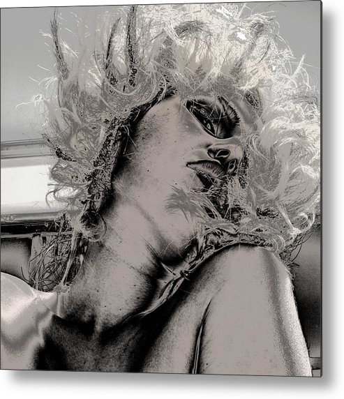 Fine Art Nude Metal Print featuring the photograph Women Body-metalic Face by Robert Litewka