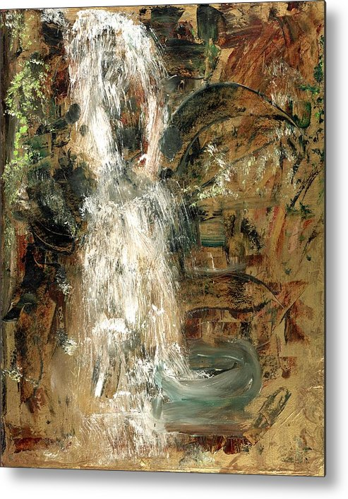 Waterfall Metal Print featuring the painting Oriental Waterfall by Michela Akers