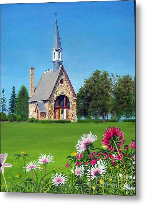 Nova Scotia Metal Print featuring the painting Evangeline Museum by Donald Hofer