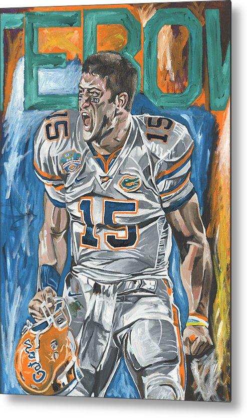 Tim Tebow Florida Gators Bcs Champions David Courson Sports Art Painting Metal Print featuring the painting Bcs Champions by David Courson